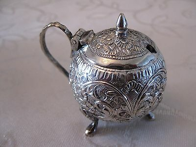 Vintage Indian Solid Silver Mustard Pot with Ornate Embossed Decoration c1900