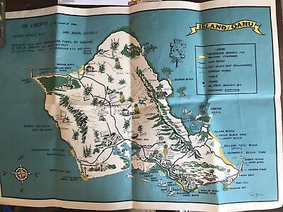 USN Map Of Hawaii Oahu Rare One Of A Kind Pearl Harbor 1950's