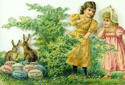 1870's-80's Lovely Easter Colored Eggs Kids Bunnies Chocolat Poulain Die Cut *R
