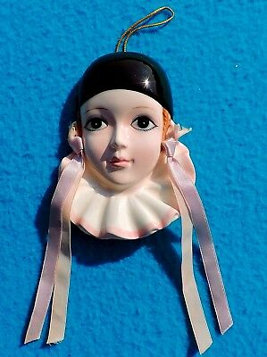 VTG SCHMID PORCELAIN PIERROT LOVE Clown Head Wall Decor Ribbons, 1981 Michel Oks