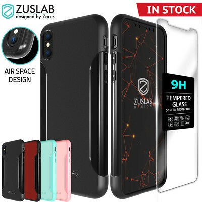 iPhone X XS Case ZUSLAB Dual Layers Shield Cover with Glass Screen Protector