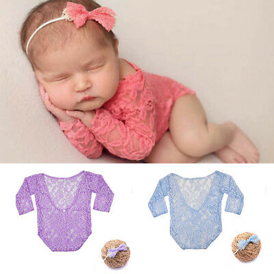 Newborn Baby Lace Romper Bodysuit Headband Photo Photography Prop Clothes Outfit