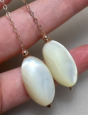 Vintage Antique c.1900 Oval Mother Of Pearl 14ct Filled Rose Gold Earrings #789