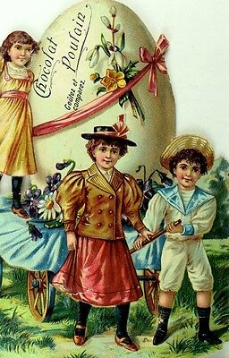 1880's Lovely Kids Pulling Cart w/ Giant Easter Egg Chocolat Poulain Die Cut *R