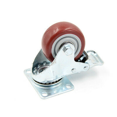1x 3 Inch PVC Caster Wheels Swivel Plate With Lock Brake Tool H&T
