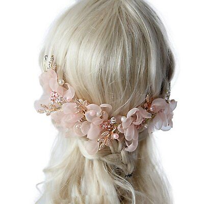 Cereoth Flower hair accessory Bridal Headband for Wedding Festivals Pink