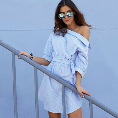 2017 Fashion one shoulder Blue striped women shirt dress Sexy side split Elegant