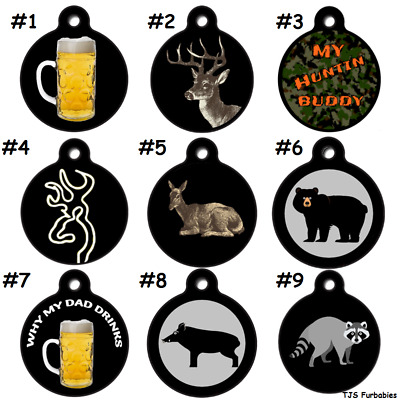 Cute Hunting Custom Personalized Pet ID tag for Dog & Cat Collars ENGRAVED FREE!