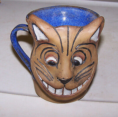 Cheshire Cat Stoneware Cup / Mug marked - Signed AEA - Hand Made Art TEETH