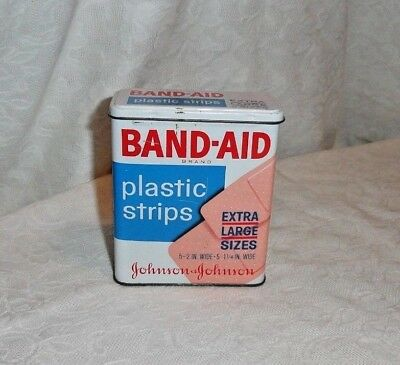 Vintage Band-Aid Tin Plastic Strips Extra Large Sizes Advertising Tin