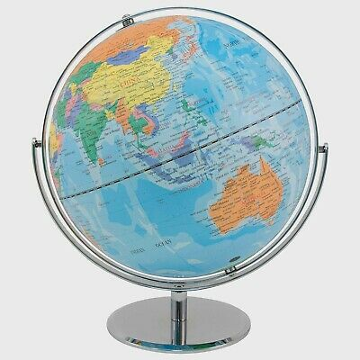 BEAUTIFUL 42 x 30cm Light  Blue Easy to Read Educational World Globe