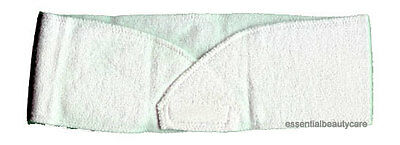White STRETCHY terry towelling toweling headband with velcro