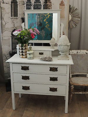 Lovely shabby chic Victorian dressing table with three drawers