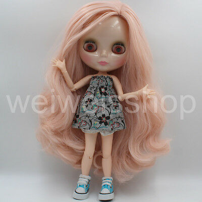 12〃 Neo New Takara Blythe Doll Nude Long Brown Hair Mix Cur DIY + 19 joints body