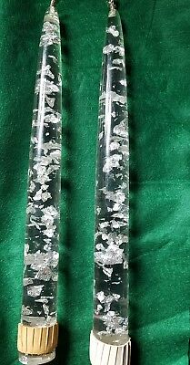 Lucite Faux TAPER Candle Pair Silver fleck VINTAGE mid century modern Decorative