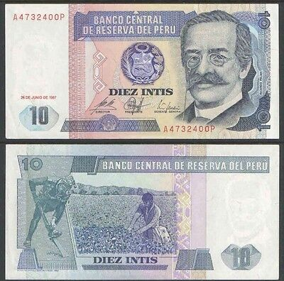 PERU 🇵🇪 10 Intis Banknote, 1987, P-129, AU World Currency