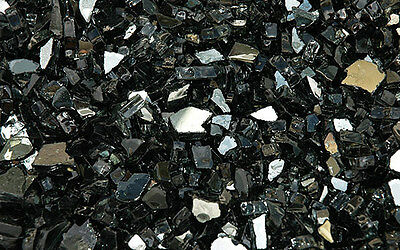 """20 LB Reflective Black Fireglass for Fire Pits and Fireplace 1/4"""" Crushed Glass"""