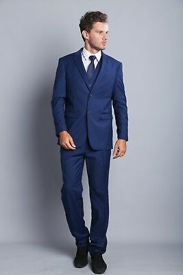 Royal Blue Long Single-breasted  Groomsmen Wedding Men's Tuxedo Two Button Suits