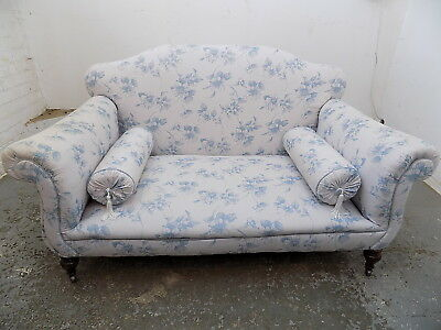 two seat,sofa,blue,floral,sprung,wood legs,castors,seat,small,victorian,antique