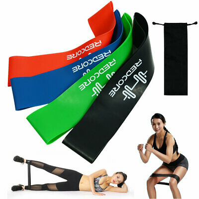 4Pcs Workout Exercise Bands Loop Set Resistance Yoga Fitness Leg Elastic Band