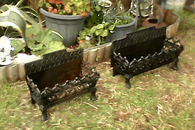 Matching Set Of Two Antique Victorian Cast Iron Firebox Fire Grates - Wood, Coal