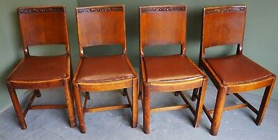 Vintage Set Of Four Solid Oak Dining Chairs with Leather Seats and Carved Detail