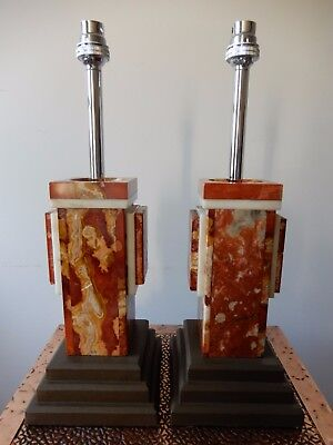 Pair of French Geometric Art Deco Style design Marble Table Lamps