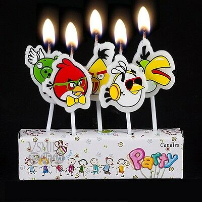 5 x Angry Birds Candles Happy Birthday Cake Toppers Party