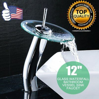 "12"" Chrome Glass Waterfall Bathroom Vessel Sink Faucet US sELLER B2"