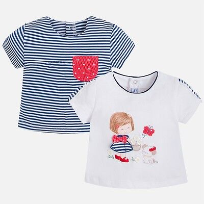 Sale Bnwt Designer Mayoral Baby Girls 2 Pack Tops 6-9 Months