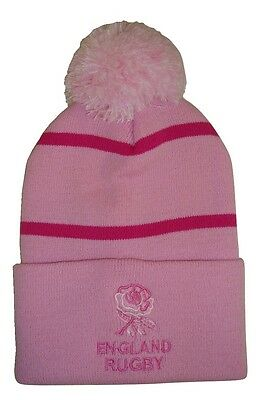 England Rugby Bobble Hat  - Pink Stripe - Made in the UK