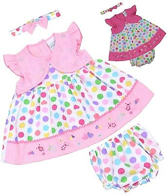 BABYPREM Baby Girls Clothes Pink Spot Party Dress Knickers Headband Set Outfit