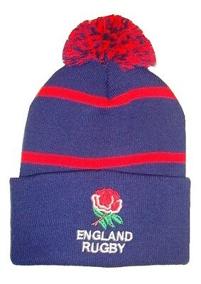 England Rugby Bobble Hat - Navy Pinstripe - Made in the UK