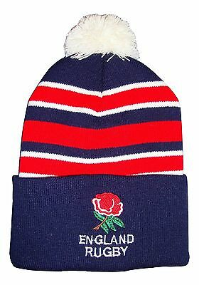 England Rugby Bobble Hat  - Navy Stripe - Made in the UK