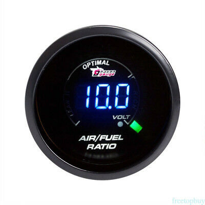 "2"" 52MM Blue LED Car Vehicle Air Fuel Ratio Monitor Gauge AFR Meter Smoked Lens"