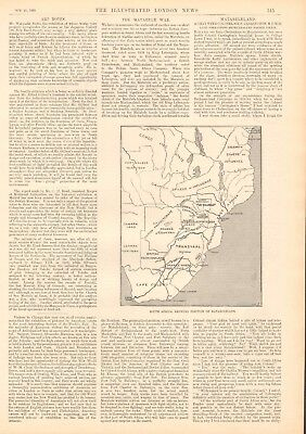 1893 Antique Print - The Matabele War, Article, Pictures, Map