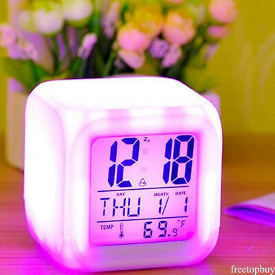 LED Change LCD Digital Alarm Thermometer Night Glowing for Bedroom Kids 7 Colors