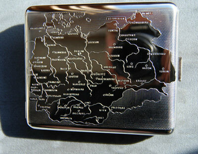 Hansaware WW2 Map of Germany 1940 Cigarette Case Made in Germany