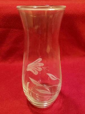 """Delicate & Lovely Vintage Etched Clear Glass Vase 7"""" Tall 2.5"""" Diameter EUC"""