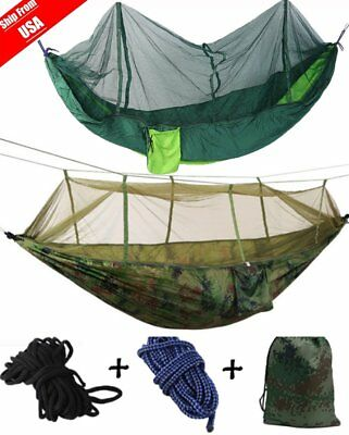Double Person Travel Outdoor Camping Tent Hanging Hammock Bed W/ Mosquito Net BP