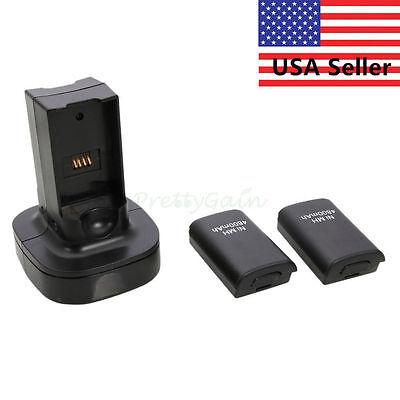 Dual Battery Charger Charging Station Dock+2x Battery For Xbox 360 Controller YT