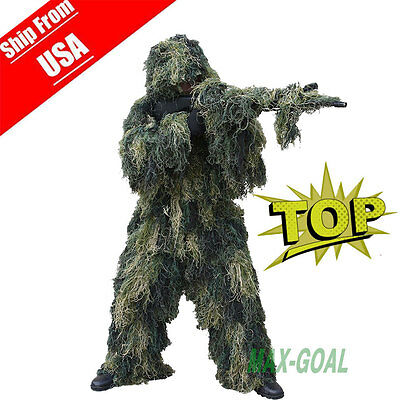 Ghillie Suit  Camo Woodland Camouflage Forest Hunting 4-Piece + Bag US YT