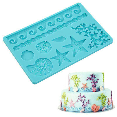 Seashell Conch Wave Star Fondant Cake Embossing Mould Decor Silicone Mold YQ
