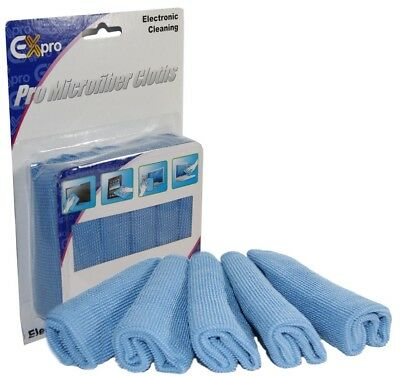 Ex-Pro Optical Microfibre Screen/Lens Cleaning Cloth Pack of 5 - Camera, TV, etc