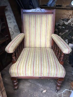 Antique / Vintage Armchair Wooden and Upholstered