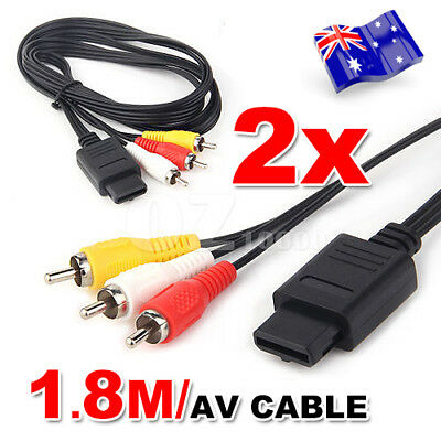 2X AV RCA Video Audio Cable TV Lead for SUPER Nintendo SNES N64 GameCube Console