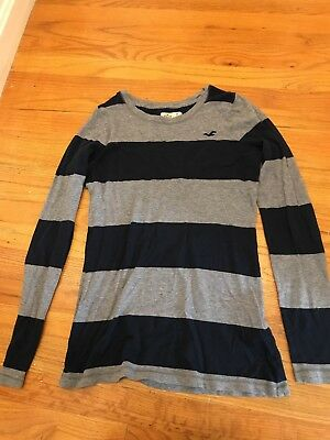 Boys Hollister Long Sleeve Shirt Striped Size M Medium Navy And Gray