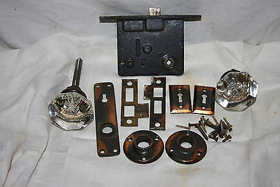 Antique Octogon Ornate Mercury Glass Knob Colonial Bronze Door Mortise Lock Set