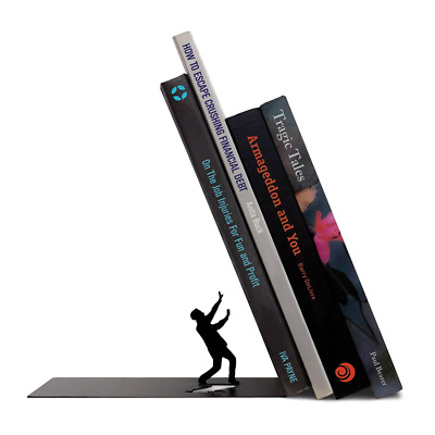 Fred THE END Dramatic Steel Sturdy Bookends NEW