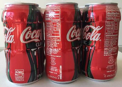 6 Pack 1998 Bottle-Shaped Test Market Classic Coke (Coca-Cola) Cans Coke Museum!